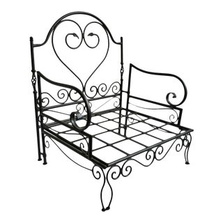 Outdoor Vintage Iron Scroll Arm Chair For Sale