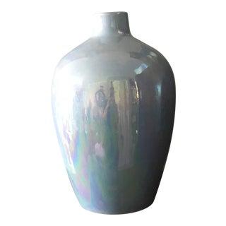 Opalescent Glaze Large Aqua Studio Pottery Vase