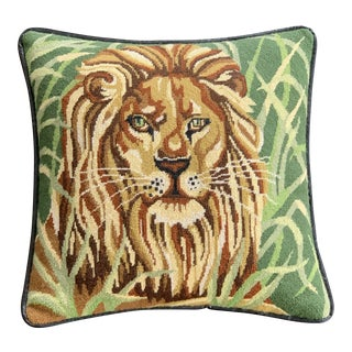 Vintage Mid Century Lion Needlepoint Pillow For Sale