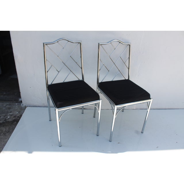 Vintage Chrome Dining Chairs - Pair - Image 3 of 7