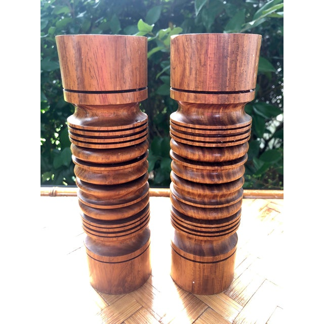 Brown Mid-Century Modern Turned Wood Candlesticks- a Pair For Sale - Image 8 of 9