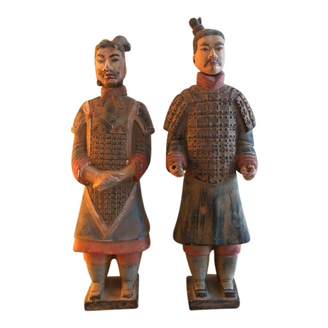Hand Painted Chinese Emperor Qin She Huang Terracotta Figurines - A Pair For Sale