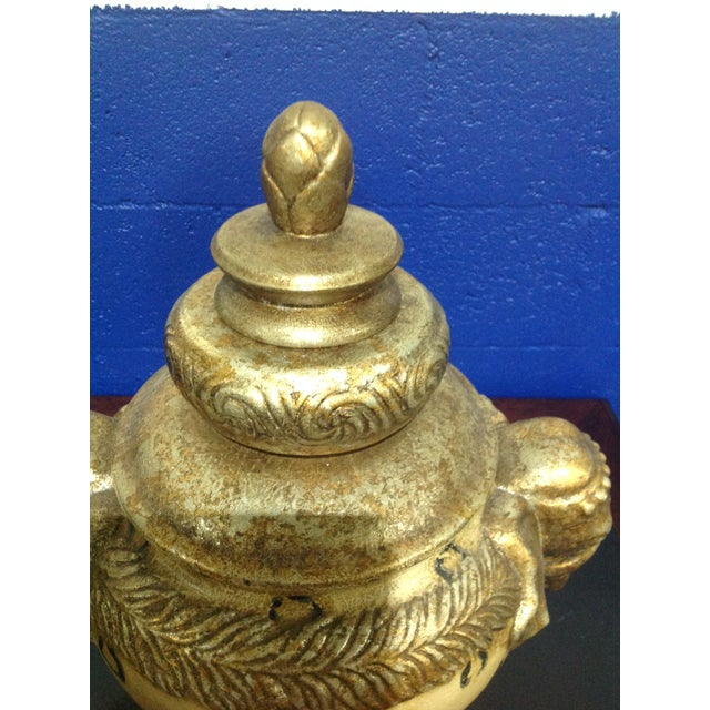 2000 - 2009 Vintage Pedestal Animal Motif Urn With Lid & Elephant Handles For Sale - Image 5 of 7