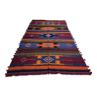 1980s Turkish Kilim Tribal Rug - 6′ × 12′2″ For Sale