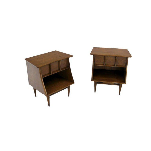 Early 20th Century Pair of Danish Mid-Century Modern Walnut End Tables For Sale - Image 5 of 5
