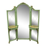 Image of Antique French Louis XV Green Gold 3 Panel Folding Dressing Vanity Screen Mirror For Sale