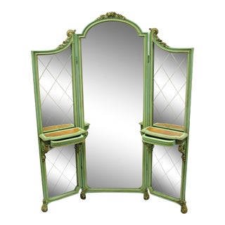 Antique French Louis XV Green Gold 3 Panel Folding Dressing Vanity Screen Mirror For Sale