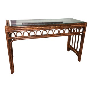Vintage Bamboo Wood Console Table W/ Glass Top For Sale