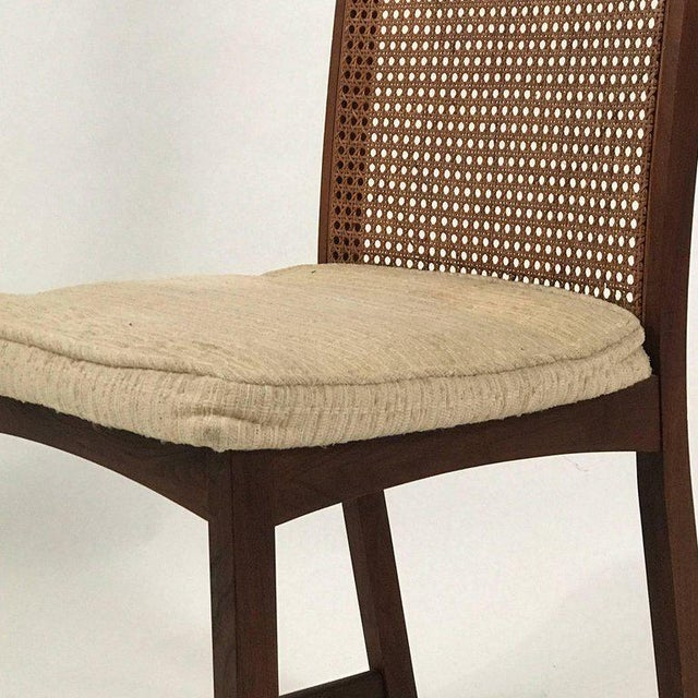 Set of Six Milo Baughman High Back Cane and Walnut Dining Chairs for Directional For Sale In New York - Image 6 of 11
