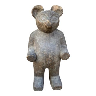 19th Century Italian Ancient Wooden Sculpture of a Bear For Sale