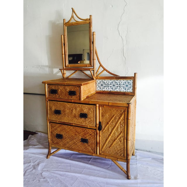 Late Victorian Bamboo Chest-of-Drawers - Image 2 of 5