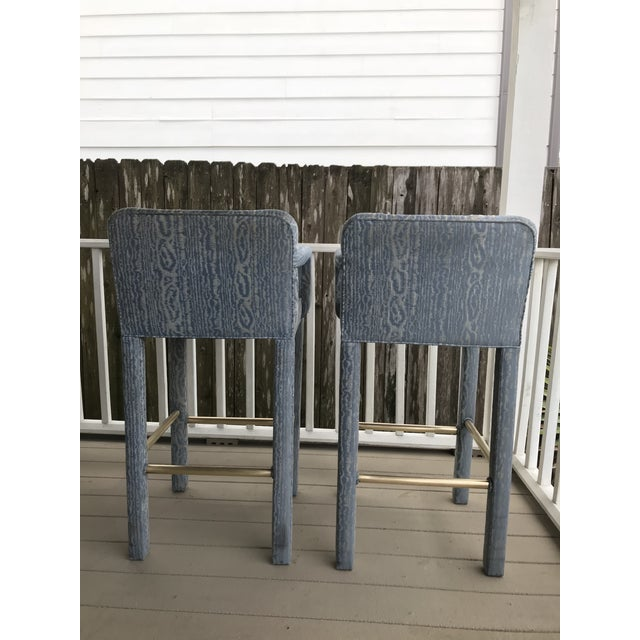 1980s Vintage Parsons Bar Stools - a Pair For Sale - Image 5 of 8