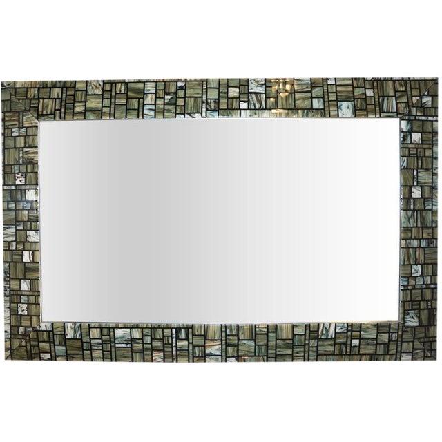 Modern Italian Green, Cream, Caramel, White and Black Murano Glass Mosaic Mirror For Sale