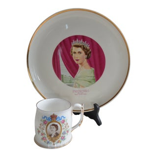 1950s English Traditional Young Royal Albert Queen Elizabeth II Collection Plate & Mug - 2 Pieces For Sale
