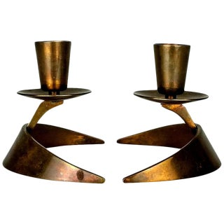 John Prip & Ronald Pearson Bronze Modernist Candle Holders - a Pair