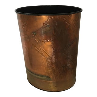Vintage Copper Retriever Waste Bin For Sale