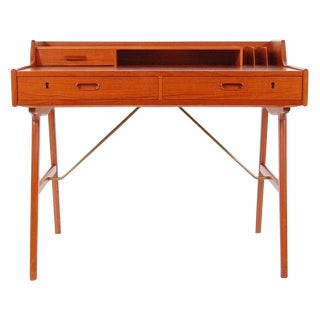 Danish Modern Model 56 Teak Desk by Arne Wahl Iversen For Sale