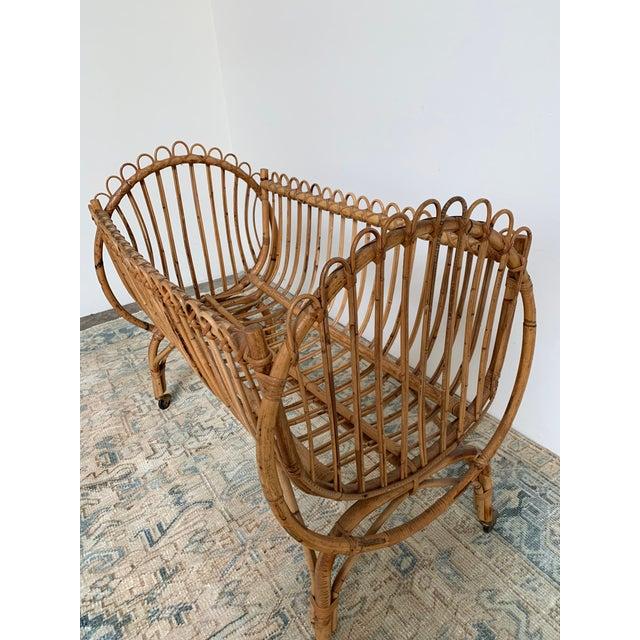 Mid-Century Modern 20th Century Boho Chic Rattan Bamboo Bassinet/Crib For Sale - Image 3 of 5