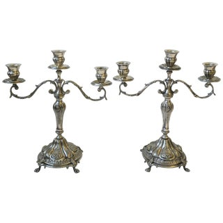 Pair Italian Sterling Silver Plate Regency Candlesticks or Candelabras For Sale