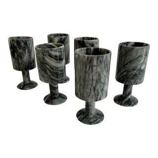 Vintage Marble Cordial Goblets - Set of Six For Sale