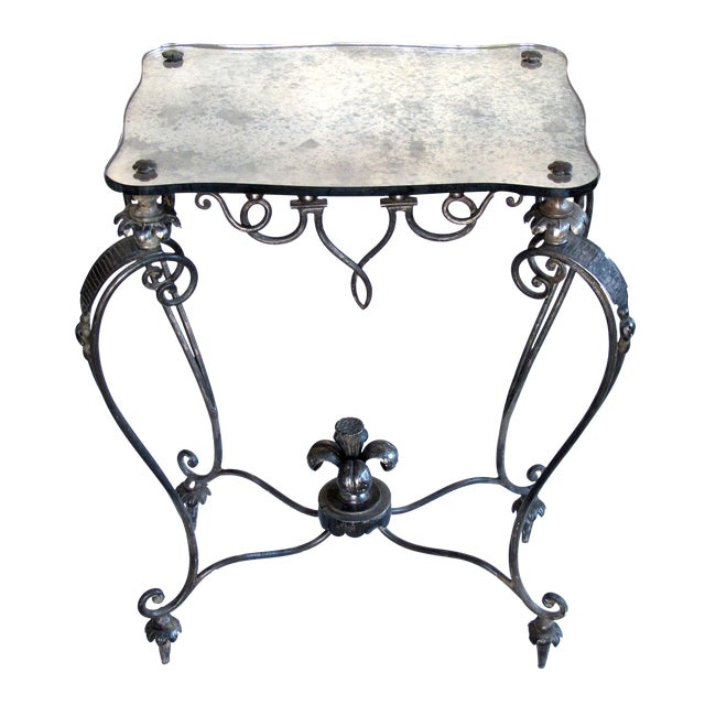 Elegant and Stylish French, 1940s Iron and Tole Side Table by Rene Drouet For Sale