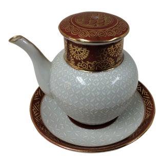 Kutani Miniature Soy Sauce Pot and Saucer