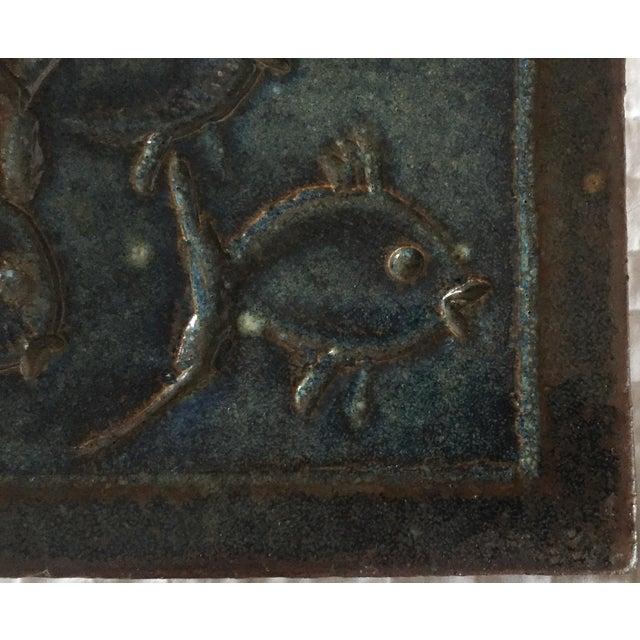 Mid-Century Art Studio Pottery Fish Tile, Trivet - Image 5 of 6