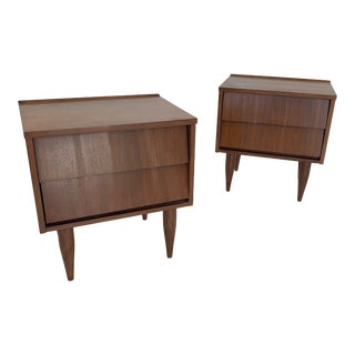 1950's Louvered Minimal Walnut Nightstands-a Pair For Sale
