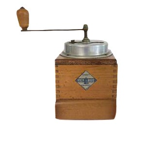 Antique Belgium Garanti Rock Hard Wooden Countertop Coffee Bean Grinder Mill For Sale