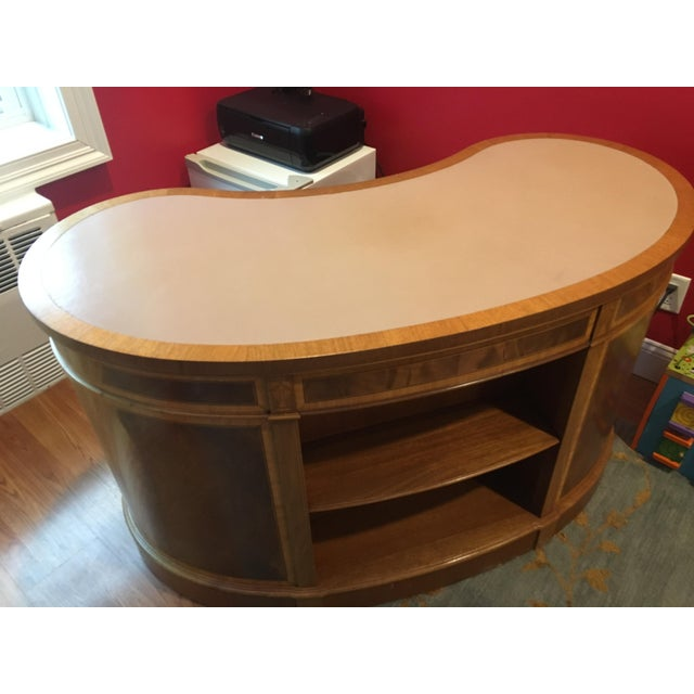 Contemporary Mahogany Leather Top Kidney-Shaped Desk For Sale - Image 3 of 6