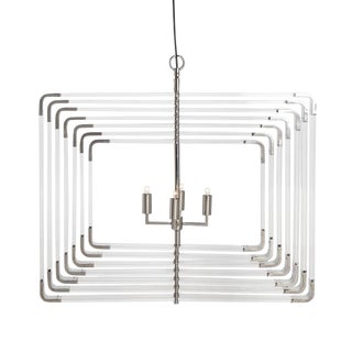 Modern 7 Layer Nickel Spiral Acrylic Chandelier For Sale