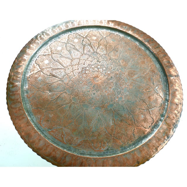 Large Antique Copper Tray Table on Midcentury Folding Base For Sale - Image 4 of 5