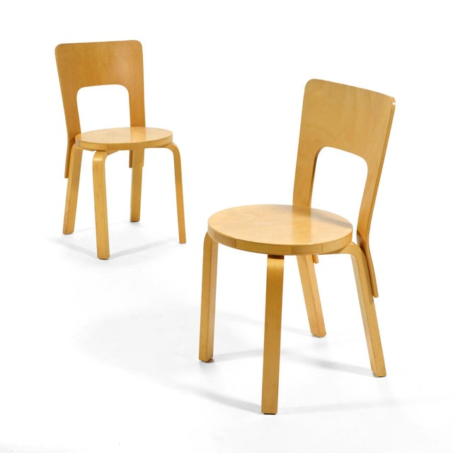 Alvar Aalto Pair of Model 66 chairs For Sale - Image 9 of 11