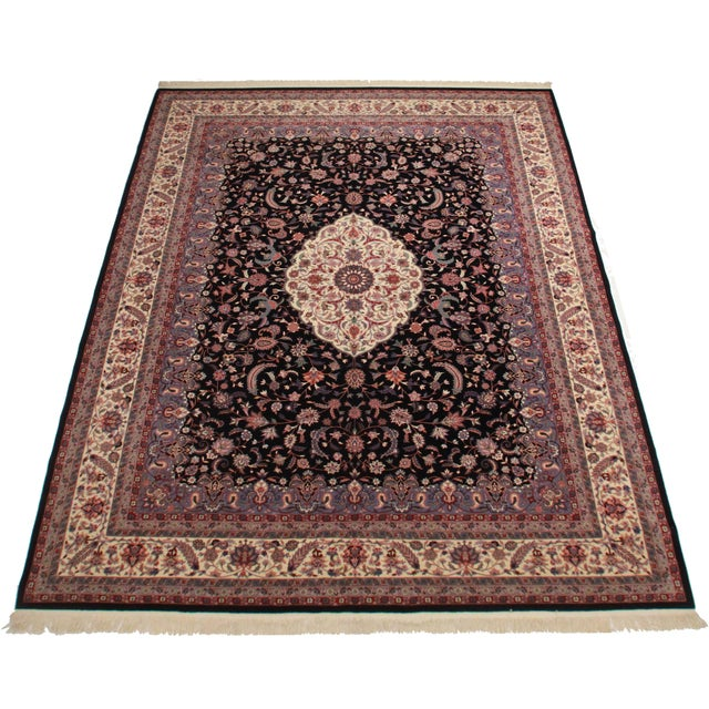 Oversize vintage hand knotted wool Chinese rug with a beautiful Persian design.