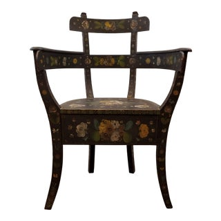Antique Bentwood Norwegian Rosemaling Painted Folk Art Chair For Sale
