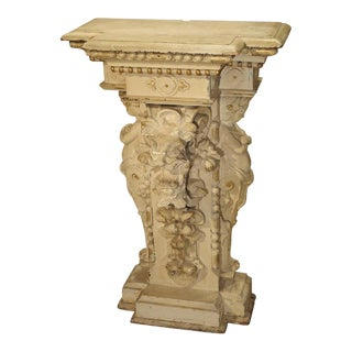 Antique Painted Napoleon III Wall Console Pedestal, Circa 1860 For Sale