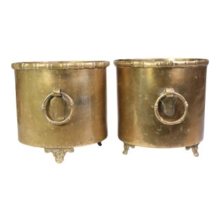 1960s Mid-Century Faux Bamboo Motif Cachepots - Pair For Sale