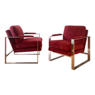 Mid Century Modern Milo Baughman Style Flat Bar Lounge Chairs - a Pair For Sale