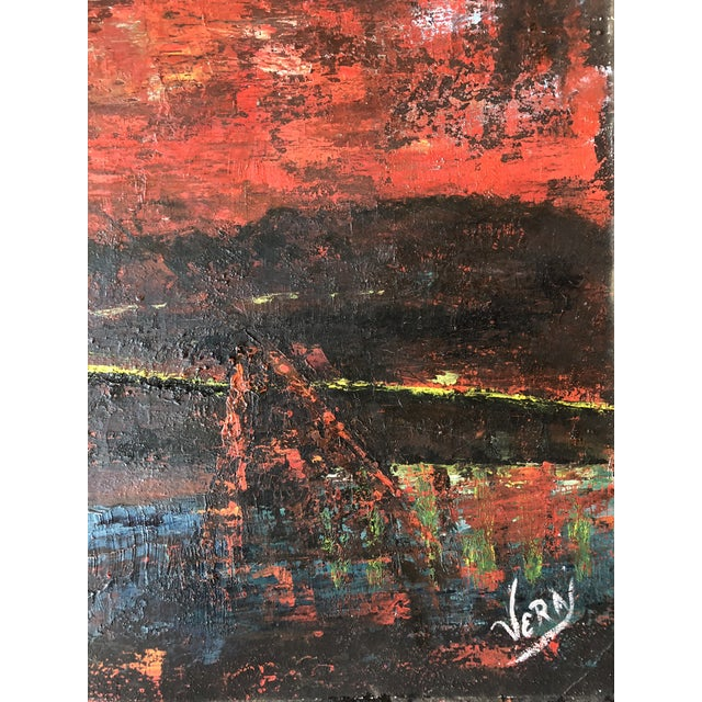 1970s Large Vintage Abstract Bridge Painting Mid Century Signed For Sale - Image 5 of 7