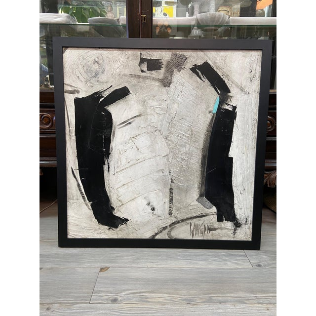 1960s Abstract Black and White Painting by Graham Harmon For Sale - Image 13 of 13