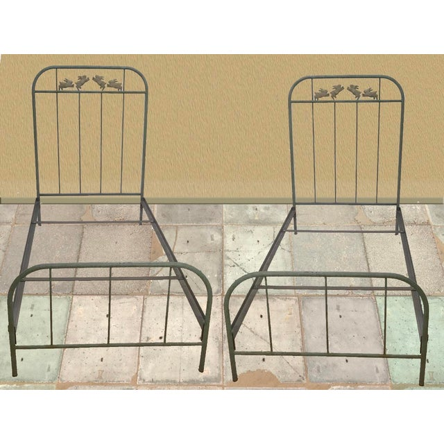 'Jumping Bunny' Twin Iron Beds by Corsican - A Pair For Sale - Image 12 of 13