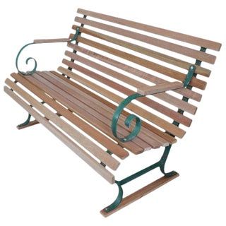 Painted Garden Bench With New Mahogany Wood Slats For Sale