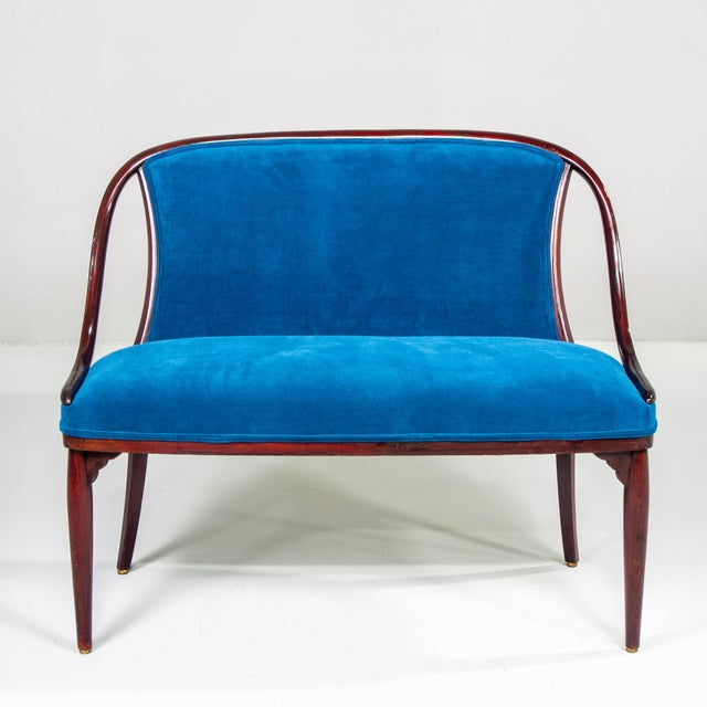 Thonet Bentwood Settee With New Teal Blue Velvet Upholstery For Sale - Image 10 of 10