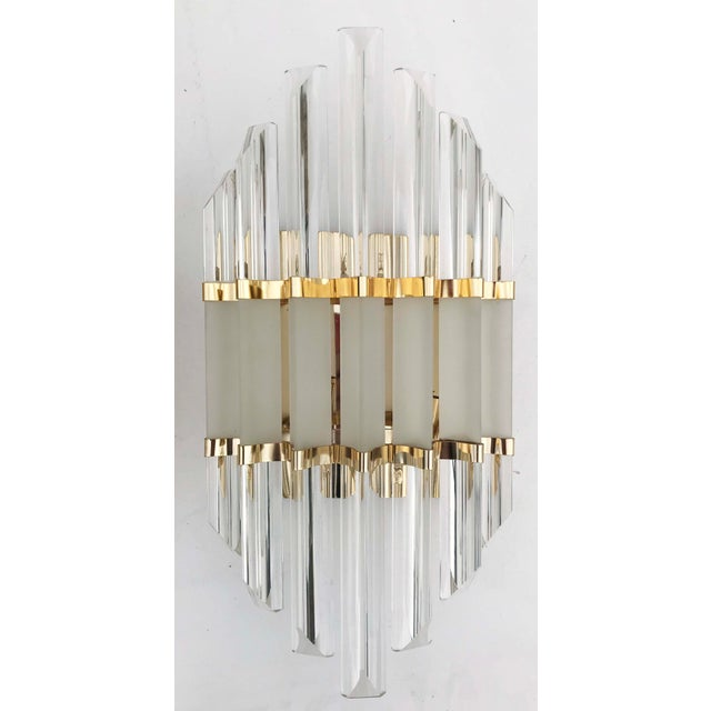 Superb pair of Murano wall sconces, rare in that size two-tone glass rods, clear and flat finish 3 lights, 60 watts max...