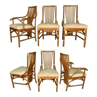 Rattan Bentwood Dining Chairs, Set of 6 For Sale