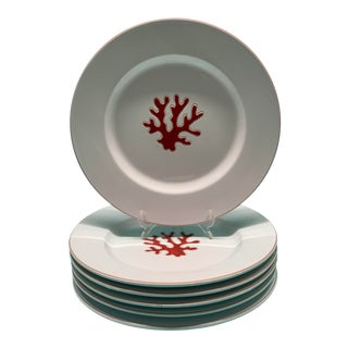 Glazed Ceramic Large Italian Coral Red Plates - Set of 6 For Sale