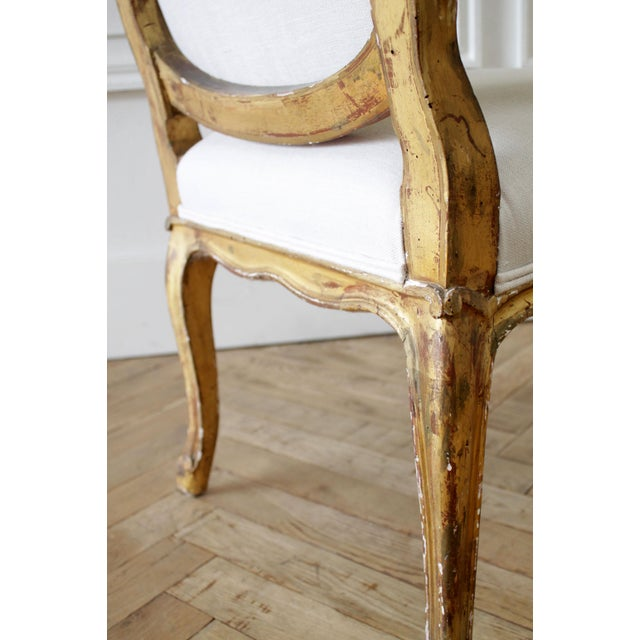 19th Century Carved Giltwood French Louis XV Style Open Arm Chairs For Sale - Image 12 of 13