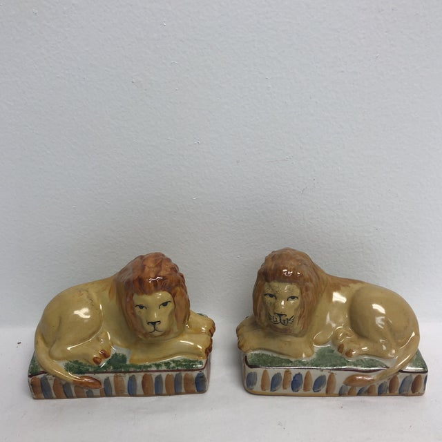 1990s Staffordshire Style Ceramic Lion Figurines- a Pair For Sale - Image 5 of 5