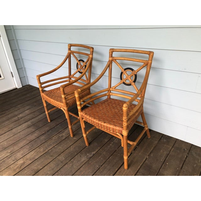 Brown McGuire Rattan Rawhide Target Chairs- Set of 6 For Sale - Image 8 of 13