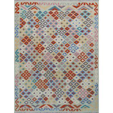 Boho Chic Light Green Handmade All Wool Colorful Reversible Kilim Rug - 5′10″ × 7′5″ For Sale - Image 3 of 3